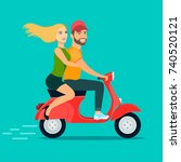 young couple riding a scooter.... | Shutterstock .eps vector #740520121