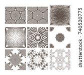 a set of complex monochrome... | Shutterstock .eps vector #740520775