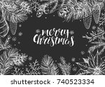 vintage christmas vector... | Shutterstock .eps vector #740523334