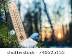 thermometer with sub zero... | Shutterstock . vector #740525155