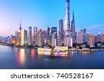 modern buildings near huangpu...   Shutterstock . vector #740528167