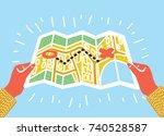 vector cartoon funny... | Shutterstock .eps vector #740528587