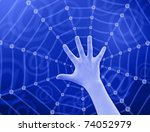 hand touching web  email sign ... | Shutterstock . vector #74052979