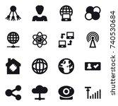 16 vector icon set   share ... | Shutterstock .eps vector #740530684
