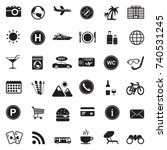 tourist and travel icons. black ... | Shutterstock .eps vector #740531245