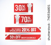 set of four christmas discount... | Shutterstock .eps vector #740536801