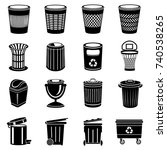 trash can icons set. simple... | Shutterstock .eps vector #740538265