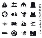 16 vector icon set   boat ... | Shutterstock .eps vector #740542129