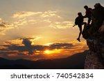 teamwork hiking help each other ... | Shutterstock . vector #740542834