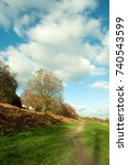 Small photo of Autumnal landscape along the Malvern hills of Herefordshire and Worcestershire, United Kingdom.