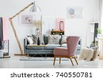 stylish original living room... | Shutterstock . vector #740550781
