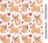 welsh corgi seamless pattern ...   Shutterstock .eps vector #740553604