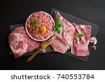 different types of pork meat on ... | Shutterstock . vector #740553784