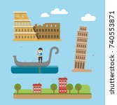 italy rome venice tourism icon... | Shutterstock .eps vector #740553871