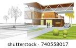 modern house  3d illustration   Shutterstock . vector #740558017