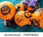 halloween balloons and... | Shutterstock . vector #740558461