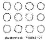 hand sketched vector laurel... | Shutterstock .eps vector #740565409