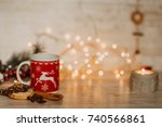 side view of christmas and new... | Shutterstock . vector #740566861