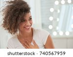 happy pretty young woman taking ... | Shutterstock . vector #740567959