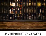 Empty Wooden Bar Counter With...