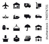16 vector icon set   plane ... | Shutterstock .eps vector #740576731