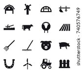 16 vector icon set   barn ... | Shutterstock .eps vector #740576749