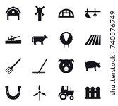 16 vector icon set   barn ... | Shutterstock .eps vector #740576749