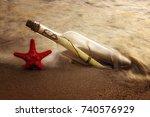 love latter in the bottle on... | Shutterstock . vector #740576929