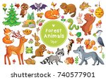 Stock vector vector set with forest animals and birds collection of insects and mammals in cartoon style 740577901