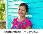 mexican latin woman with mayan... | Shutterstock . vector #740590561