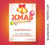 xmas celebration party poster ... | Shutterstock .eps vector #740591119