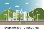 paper art of landscape with eco ... | Shutterstock .eps vector #740592781