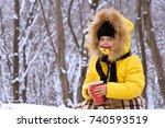 little girl in winter on the... | Shutterstock . vector #740593519