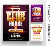 party banner or flyer with... | Shutterstock .eps vector #740599735