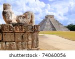 ancient chac mool chichen itza... | Shutterstock . vector #74060056