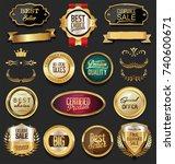 retro vintage golden badges...   Shutterstock .eps vector #740600671