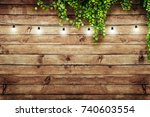 Garland Lamps Over Wooden Board ...