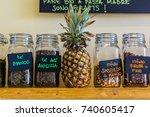 jars with various tea in... | Shutterstock . vector #740605417
