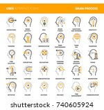 thinking and brain process | Shutterstock .eps vector #740605924