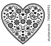 scandinavian folk heart vector... | Shutterstock .eps vector #740605951