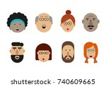 avatar people set in an... | Shutterstock .eps vector #740609665