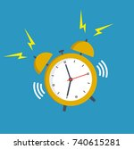 alarm clock yellow wake up time ... | Shutterstock . vector #740615281