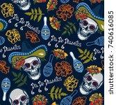 dia de muertos. seamless... | Shutterstock . vector #740616085