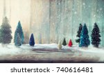 christmas trees on wood....   Shutterstock . vector #740616481