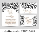 romantic invitation. wedding ... | Shutterstock . vector #740616649