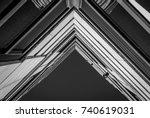 urban geometry  looking up to... | Shutterstock . vector #740619031