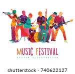 colorful music background.... | Shutterstock .eps vector #740622127