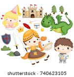 knight and dragon | Shutterstock .eps vector #740623105