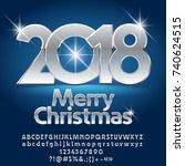 vector luxury merry christmas... | Shutterstock .eps vector #740624515