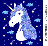 head of hand drawn unicorn on... | Shutterstock .eps vector #740625199